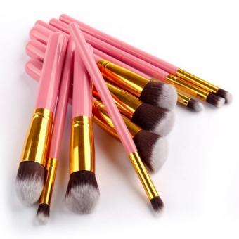 SUPERLADY High Quality Make up Brushes 10 Pieces Makeup Brush SetPink color