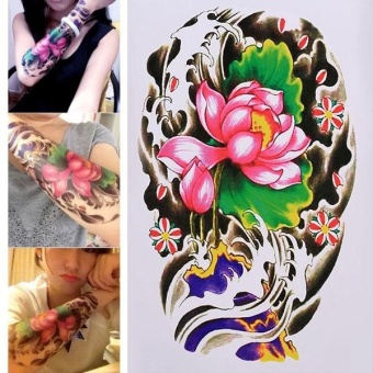 Temporary Tattoo Arm Sticker Lotus Flower Paper Decal RemovableWaterproof - intl Price Philippines