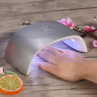 UV Nail Lamp 18W Led Gel Polish Cure Double Light Dryer Manicure Machine US Plug Silver - intl