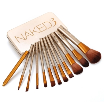 V SHOW 12Pcs/Set Naked3 Power Brush Urban Makeup Brushes Nake 3Professional Make Up Brush Kit Maquiagem Beauty Eye Face Tool Metalbox - intl