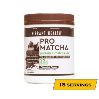 Vibrant Health Pro Matcha Plant-Based VEGAN Protein Shake Supplement - 15 Servings - Chocolate