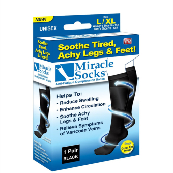 VIVISWILL Miracle Healthy Compression Stockings Socks Set of 2 (Black) (Intl)
