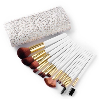 Weimei Synthetic Kabuki Makeup Brushes Set Professional 15 Pcs withPremium Pouch - White - intl