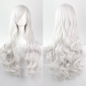 Woman Wig 80cm Fashion Long Wig Hair Multicolor Curled High Temperature Silk - White - intl