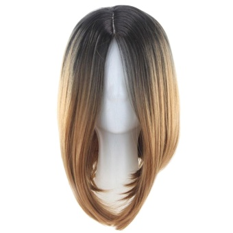 Women Fashion Bob Style Colorful Hair Extensions Wig Middle LengthColor Gradually Varied for Daily Wear Appointment Party CosplayCostume Brown to Black - intl