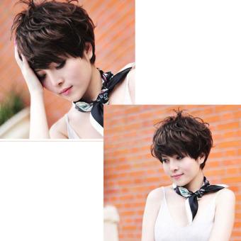 Women Hair Wig New Stylish Short Fluffy Short Curly Dark Brown Lady Full Wig - 2