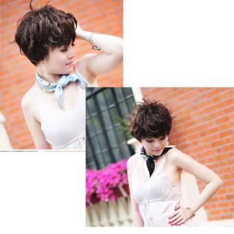 Women Hair Wig New Stylish Short Fluffy Short Curly Dark Brown Lady Full Wig - 3