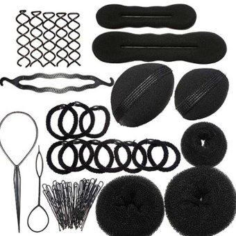 Women Lady Girls DIY Hair Styling Maker Accessories Kit Set Hair Braider Hairpins Clips Hair Bun Donut Insert Beauty Tool