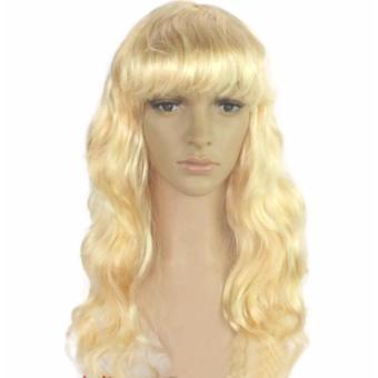 Women Long Curly Cosplay Wig Cheap Synthetic Hair Peluca (Blonde)