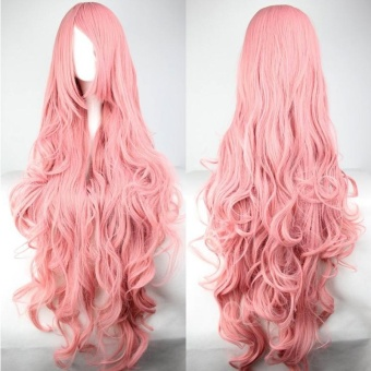 Women Long Curly Cosplay Wig Oblique Bang Heat Resistant HairExtensions Harajuku Style Pink - intl