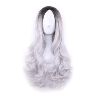 Women Long Curly Wavy Cosplay Hair Wig Gradient Color - intl