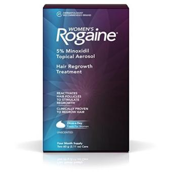 Women's Rogaine Treatment for Hair Loss & Hair Thinning Once-A-Day Minoxidil Foam Four Month Supply