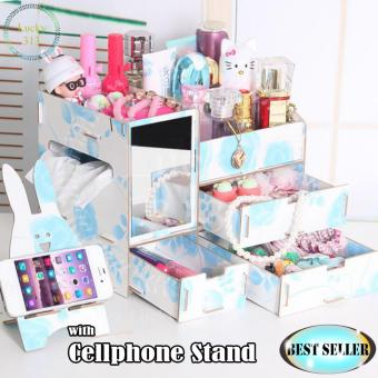 Wooden Cosmetic Make Up Jewelry Box Organizer with Cellphone StandBlue Floral