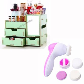 Wooden Cosmetic Make Up Jewelry Box Storage Organizer (AssortedColor) with 5 In1 Beauty Care Massager Cleanser Face Massager Brush