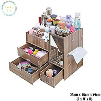 Wooden Cosmetic Make Up Jewelry Box Storage Organizer (Brown) Price Philippines