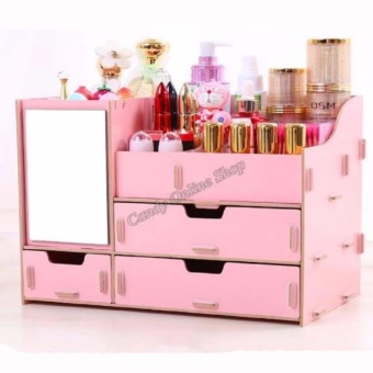 Wooden Cosmetic Make Up Jewelry Box Storage Organizer (COLOR MAYVARY)