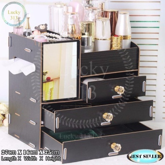Wooden Cosmetic Make Up Jewelry Box Storage Organizer Large Size (Black)