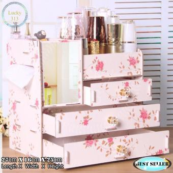 Wooden Cosmetic Make Up Jewelry Box Storage Organizer Large Size (Floral)