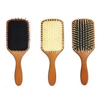 Wooden Paddle Hair Brush Health Care Scale Head Massage Comb - intl