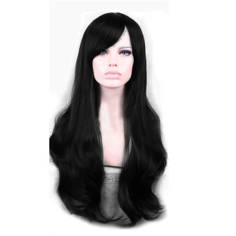YBC Women Long Wave Wigs Synthetic Full Lace Cosplay Wigs(Black)