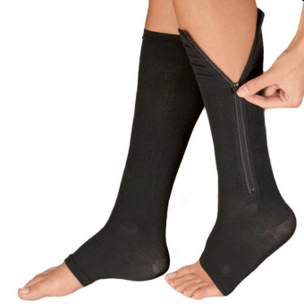 Zipper Compression Socks Zip Leg Support Knee Stockings Sox Open Toe S/M Black C583 Price Philippines