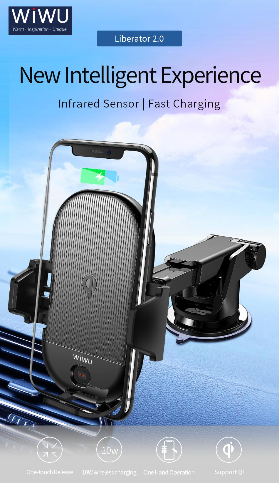 DSCVR x WiWU Wireless Charging Car Mount Automatic Recognition Fast QI  Wireless Charging Angle Adjustable and Extendable Design For Charging for
