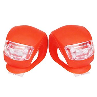1 pair Bike Bicycle Safety Warning Waterproof LED Rear Tail Front Frog Lights (Red) - 3