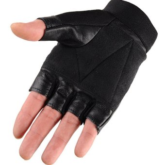 1 Pair Outdoor Fitness Soft Leather Driving Half Finger Free SizeUnisex Motorcycle Cycling Fingerless Warm Gloves - intl - 2