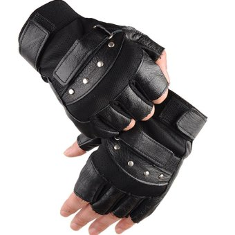 1 Pair Outdoor Fitness Soft Leather Driving Half Finger Free SizeUnisex Motorcycle Cycling Fingerless Warm Gloves - intl - 3