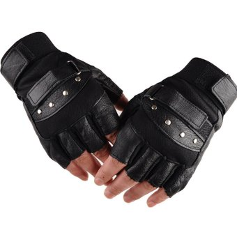 1 Pair Outdoor Fitness Soft Leather Driving Half Finger Free SizeUnisex Motorcycle Cycling Fingerless Warm Gloves - intl - 4