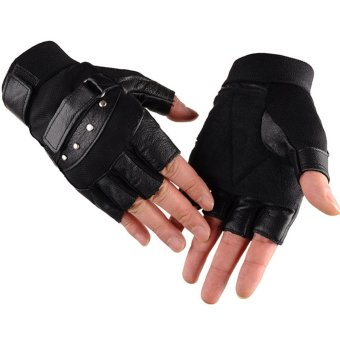 1 Pair Outdoor Fitness Soft Leather Driving Half Finger Free SizeUnisex Motorcycle Cycling Fingerless Warm Gloves - intl - 5