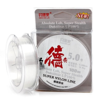 100M White Nylon Fishing Line 14.3-40.6LB Super Stealth Leader Line Fly Fishing Line (Line#8.0) - intl Price Philippines
