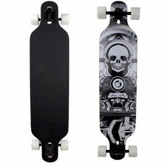 104 cm Wood Deck Skull Decal Long Board Skate Board WhiteRollers(Black) Price Philippines