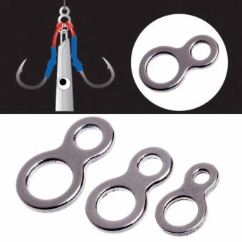 10Pcs 250LB Fishing Butterfly Jigging Stainless Steel Figure 8Solid Ring Assist Hook - intl
