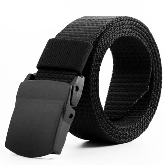 125CM Automatic Buckle Nylon Belt Male Army Tactical Belt MensMilitary Waist Canvas Belts Survival Cummerbunds StrapColor:Black(QIMIAO) - intl