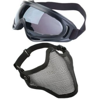 2 in 1 Protection Steel Mesh Face Mask with X400 UV Safety Goggles Airsoft Paintball, Black (Intl)
