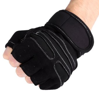 2 Pcs Gym Training Exercise Fitness Wrist Gloves (Black/XL) - intl