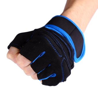 2 Pcs Gym Training Exercise Fitness Wrist Gloves (Blue/XL) - intl