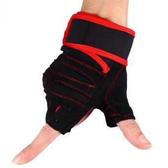 2 Pcs Gym Training Exercise Fitness Wrist Gloves (Red/M) - intl