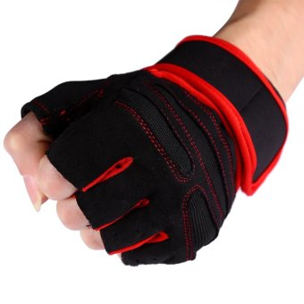 2 Pcs Gym Training Exercise Fitness Wrist Gloves (Red/XL) - intl