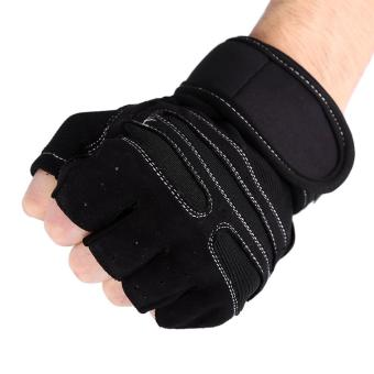 2 Pcs Weight Lifting Gym Training Fitness Gloves(Black/M) - intl - 5