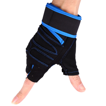 2 Pcs Weight Lifting Gym Training Fitness Gloves(Blue/L) - intl