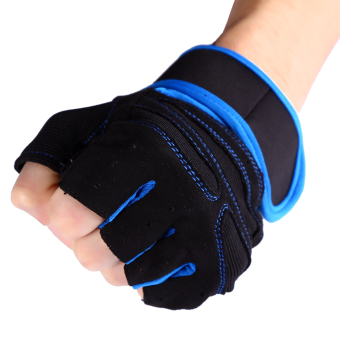 2 Pcs Weight Lifting Gym Training Fitness Gloves(Blue/L) - intl - 3