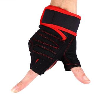 2 Pcs Weight Lifting Gym Training Fitness Gloves(Red/L) - intl