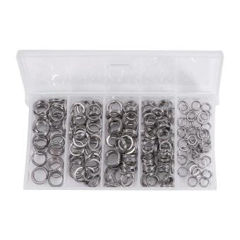200PCS 5Sizes Heavy Duty Stainless Steel Split Rings Solid Lures Connectors Fishing Tackle - intl