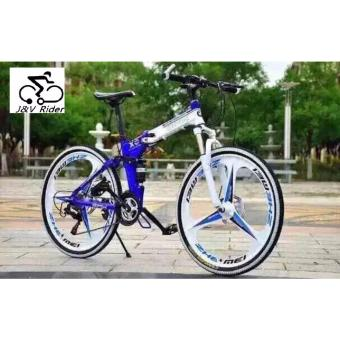26'inch X6 mountain bike suspension folding bicycles (Blue)