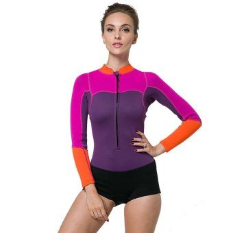 2mm Rubber Women Winter Warm Snorkeling Wetsuit Scuba Diving Swimwear Wet Suit Surf Rash Guard Swimsuit Long (Purple)