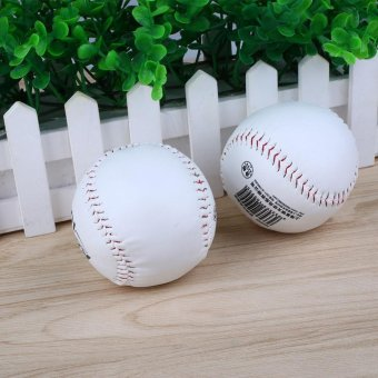 2Pcs Trainning BaseBall Softball Practice Base Ball Soft Leather White Activity - intl - intl