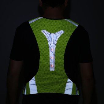 3 LED Lights Cycling Vest Outdoor Sports Running Reflective SafetyVest Gear High Visibility For Exercise Jogging Polyester (Yellow) -intl - 5