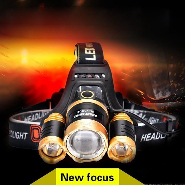 30W 3 LED XM-L2 T6 IPX44 Focusing Headlamp Headlight CREE T6 or Q5 Light 2 x18650 Battery Waterproof Outdoor Camping Fishing Hunting High Power Rechargeable Zoom Headlight Charging Led Lights - intl